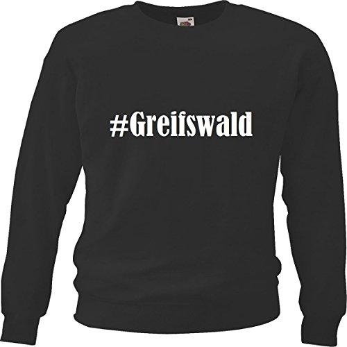 """Sweatshirt Hashtag """"#Greifswald"""" für Damen Herren und Kinder ... in den Farben Schwarz Weiss Blau mit Aufdruck"""