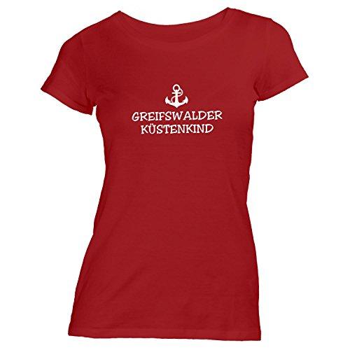 Damen T-Shirt - Greifswalder Küstenkind - Anker Greifswald Schiffsanker Küste Maritim, Rot, S