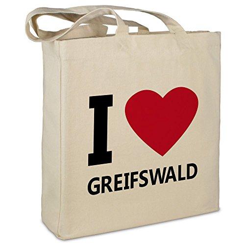 """Stofftasche mit Stadt/Ort """"Greifswald"""" - Motiv I Love - Farbe beige - Stoffbeutel, Jutebeutel, Einkaufstasche, Beutel"""