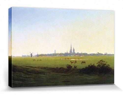 1art1 57229 Caspar David Friedrich - Wiesen Bei Greifswald, 1822 Poster Leinwandbild Auf Keilrahmen 120 x 80 cm