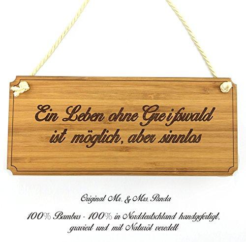 Mr. & Mrs. Panda Türschild Stadt Greifswald Classic Schild - Gravur,Graviert Türschild,Tür Schild,Schild, Fan, Fanartikel, Souvenir, Andenken, Fanclub, Stadt, Mitbringsel