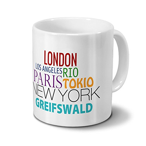 "Städtetasse Greifswald - Design ""Famous Cities in the World""-Design"