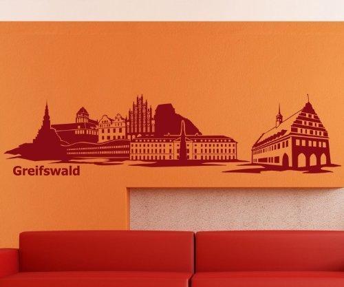Wandtattoo Skyline Greifswald Wohnzimmer XXL Aufkleber Deutschland Stadt 1M169, Farbe:Weiß glanz;Länge des Motives:180cm