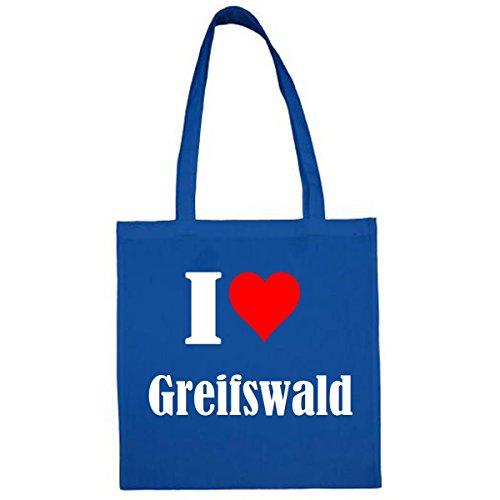 """Tasche""""I Love Greifswald""""Größe""""38x42""""Farbe""""Blau""""Druck""""Weiss"""