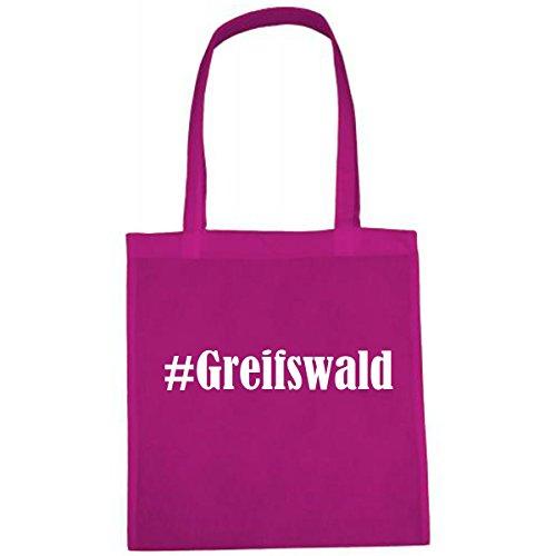 """Tasche""""#Greifswald""""Größe""""38x42""""Farbe""""Pink""""Druck""""Weiss"""